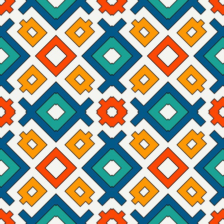 Seamless pattern in bright colors. Ethnic and tribal motif. Repeated geometric forms. Colorful ornamental abstract background. Digital paper, textile print, page fill. Vector illustration.