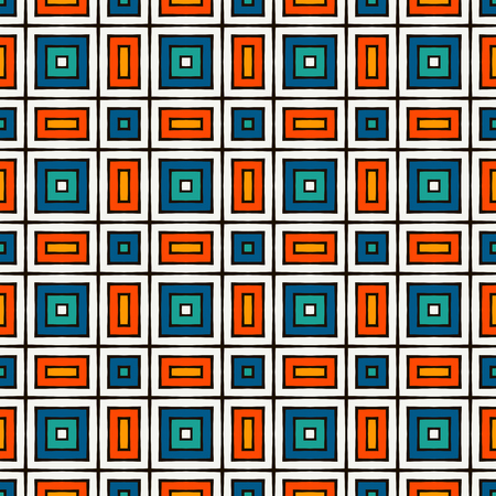 Seamless pattern in Christmas traditional colors. Repeated squares bright ornamental abstract geometric background. Can be used for digital paper, textile print, page fill. Vector illustration Ilustrace