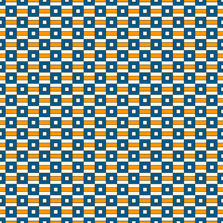 Seamless pattern with geometric ornament. Repeated bright square and stripes abstract background. Vivid colors surface texture. African style digital paper, textile print, page fill. Vector art