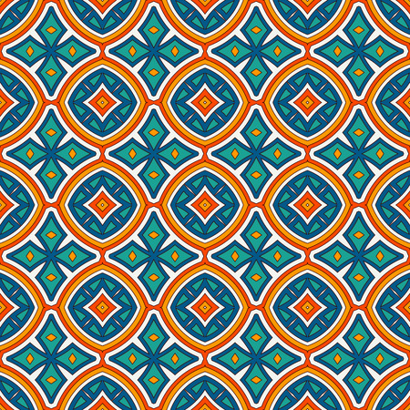 Ethnic style seamless pattern with floral motif. Vintage bright colors abstract background. Tribal ornament. Boho chic digital paper, textile print, page fill. Vector art