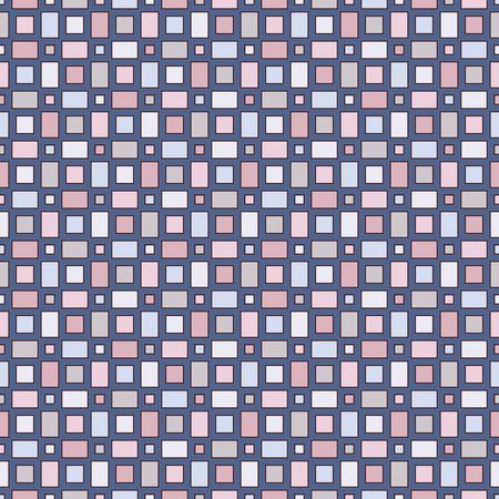 Seamless pattern with geometric figures. Repeated squares ornamental abstract background. Checkered wallpaper. Pastel colors digital paper, textile print, page fill. Vector art