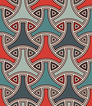 Seamless pattern with traditional japanese ornament. Three pronged blocks tessellation. Repeated interlocking figures. Bishamon armor motif. Sashiko embroidery. Vector abstract background