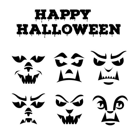 Halloween pumpkins carved faces silhouettes collection. Template with variety of eyes, mouths, noses for cut out jack o lantern. Funny werewolfs stencil set. Monster icons. Black and white vector art  イラスト・ベクター素材