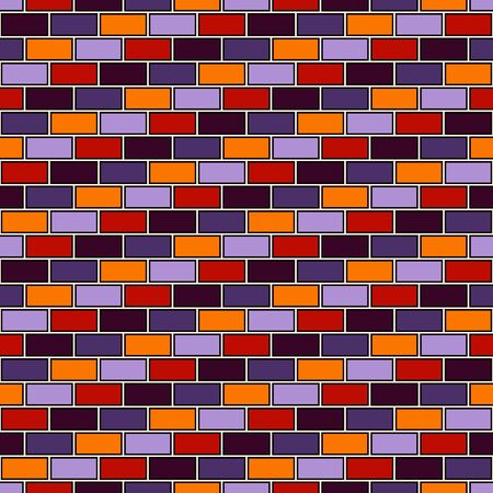 Brick wall abstract background. Seamless pattern in Halloween traditional colors with classic geometric ornament. Bricks motif. Repeated rectangular blocks. Digital paper, textile print. Vector art Ilustração
