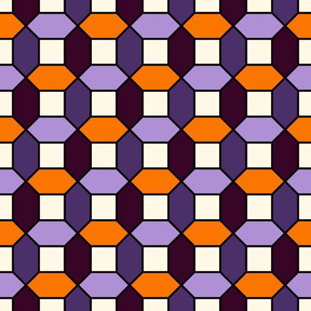 Halloween traditional colors repeated hexagon tiles mosaic wallpaper. Seamless surface pattern with geometric ornament. Bright contemporary print. Checkered background. Vector art Illusztráció