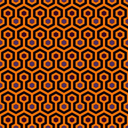 Honeycomb abstract background. Repeated hexagon tiles mosaic wallpaper. Seamless pattern in Halloween traditional colors. Digital paper, textile print, page fill. Vector art Banque d'images - 130021258