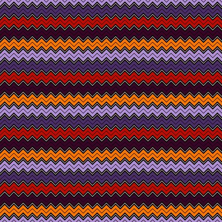 Seamless pattern in Halloween traditional colors. Chevron jagged stripes print. Classic geometric ornament. Zigzag horizontal lines wallpaper. Vivid digital paper, textile print, page fill. Vector