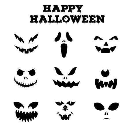 Sammlung von Halloween-Kürbissen geschnitzte Gesichter Silhouetten. Schwarzweißbilder. Vorlage mit verschiedenen Augen, Mündern und Nasen für ausgeschnittene Jack-o-Laterne. Vektor-Illustration Vektorgrafik