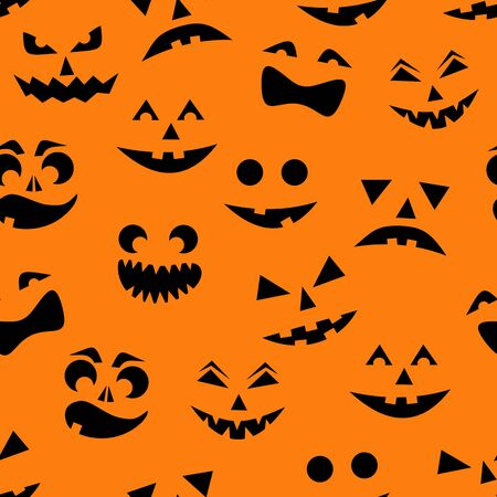 Seamless pattern with black halloween pumpkins carved faces silhouettes on orange background. Can be used for scrapbook digital paper, textile print, page fill. Vector illustration  イラスト・ベクター素材