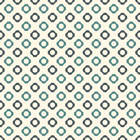 Blue colors seamless pattern with repeated circles. Hex nut motif. Geometric abstract background. Modern style surface texture. Digital paper, textile print, page fill. Vector illustration