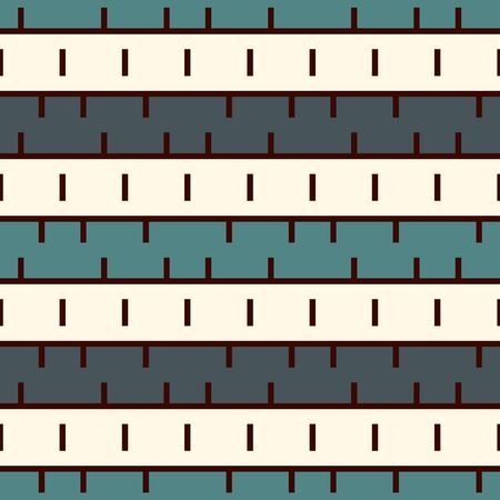 Seamless surface pattern with strokes. Broken horizontal lines. Dashes motif. Repeated rectangle blocks. Simple geometric ornament. Hatched wallpaper. Modern abstract background with stitches. Vector