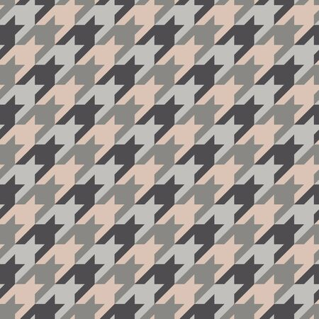 Seamless surface pattern design with houndstooth ornament. Classic fashion fabric print. Mosaic motif. Checkered geometric abstract background. Digital paper, textile print, page fill. Vector art. Standard-Bild - 130587698