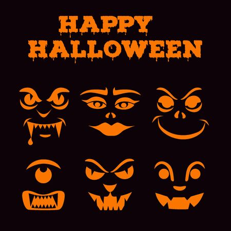 Halloween pumpkins carved faces silhouettes collection. Template with variety of eyes, mouths, noses for cut out jack o lantern. Funny monsters icons. Black and orange stencil set. Vector art Stock Illustratie