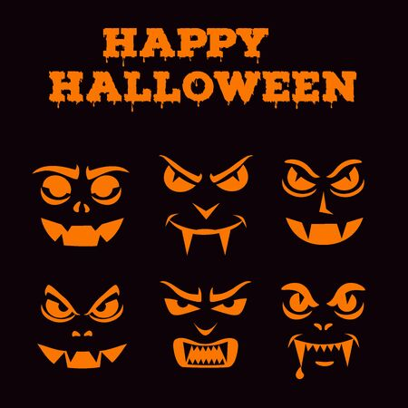 Collection of Halloween pumpkins carved faces silhouettes. Template with variety of eyes, mouths and noses for cut out jack o lantern. Funny vampires, monsters stencil set. Black and white vector art