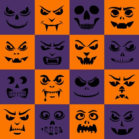 Funny monsters seamless pattern. Halloween faces silhouettes. Vampires, skeletons, demons stencil. Holiday cartoon characters wallpaper