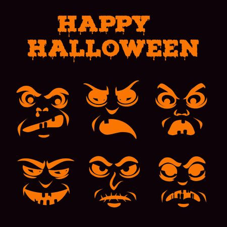 Halloween pumpkins carved faces silhouettes collection. Grumpy old men icons. Template with variety of eyes, mouths, noses for cut out jack o lantern. Black and white stencil set. Vector illustration