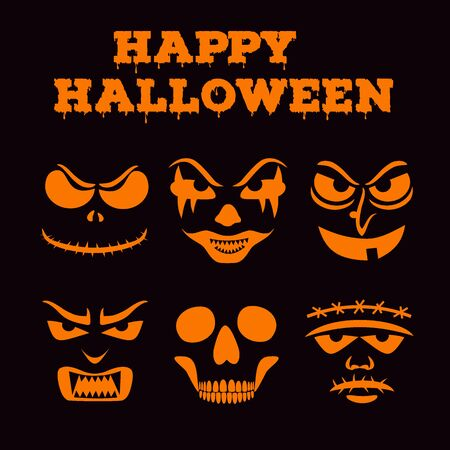 Collection of Halloween pumpkins carved faces silhouettes. Black and white images. Template with variety of eyes, mouths and noses for cut out jack o lantern. Vector illustration  イラスト・ベクター素材