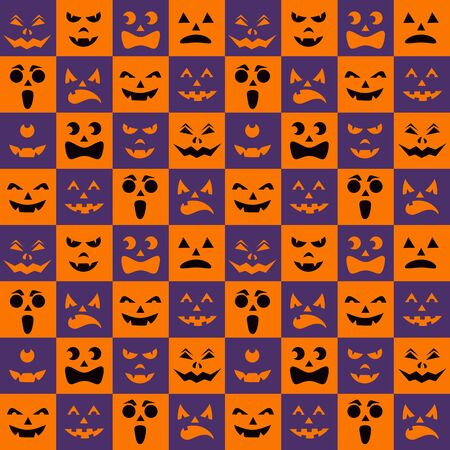Pattern with black halloween pumpkins carved faces silhouettes on checkerboard background. Halloween traditional colors scrapbook digital paper, textile print, page fill. Vector illustration