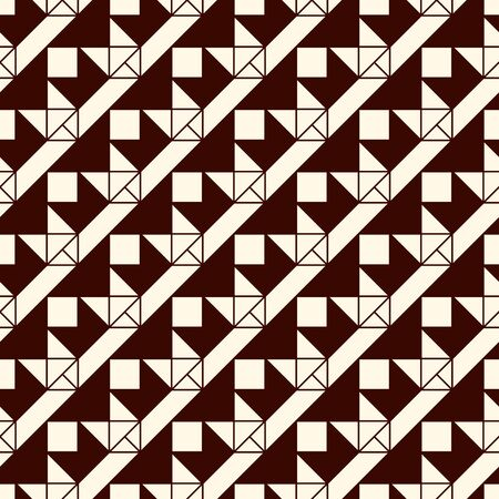 Seamless pattern with origami forms. Brown color print with geometric shapes. Contemporary abstract background with repeated triangles. Modern style wallaper. Vector digital paper, textile print