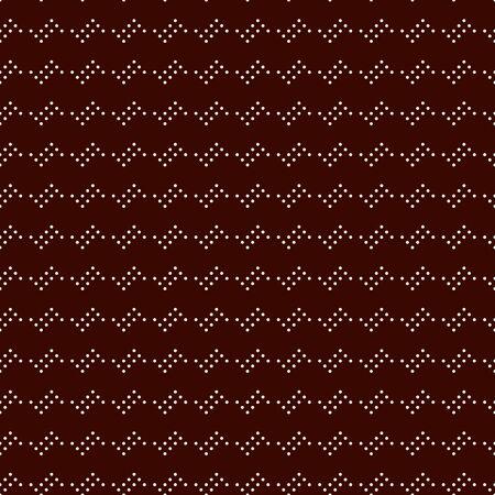 Polka dot seamless pattern. Repeated dotted zigzag stripes texture. Round spots motif. Mini circles abstract wallpaper. Simple minimalist geometric background. Vector digital paper, textile print Çizim