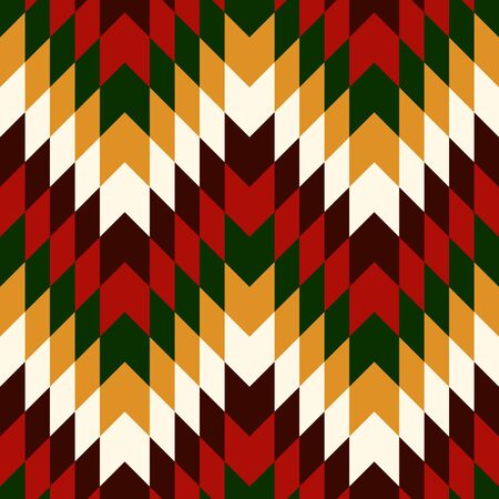 Ethnic seamless pattern with chevron lines. Native americans ornament. Tribal motif. Christmas traditional colors mosaic wallpaper. Boho chic digital paper, textile print, page fill. Vector art