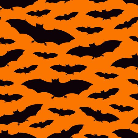 Seamless pattern with a group of bat. Halloween holiday background. Vampire silhouettes print. Trick or treat wallpaper. Kids scrapbook digital paper, textile print, page fill. Vector illustration Illusztráció