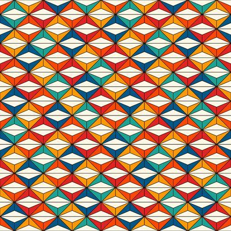 African style seamless surface pattern with abstract figures. Bright ethnic print with geometric forms. Ornamental background with repeated rhombuses and triangles. Digital paper, textile print. 向量圖像