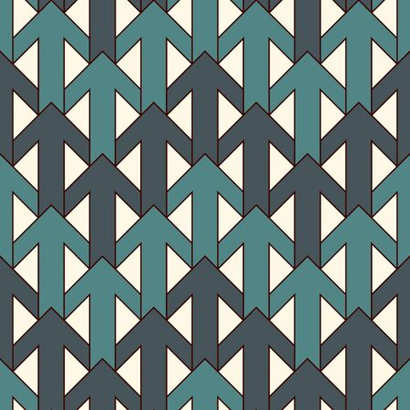 Blue modern print with interlocking arrows. Contemporary abstract background with repeated pointers. Tender seamless pattern with geometric figures. Creative wallaper. Vector digital paper Illusztráció