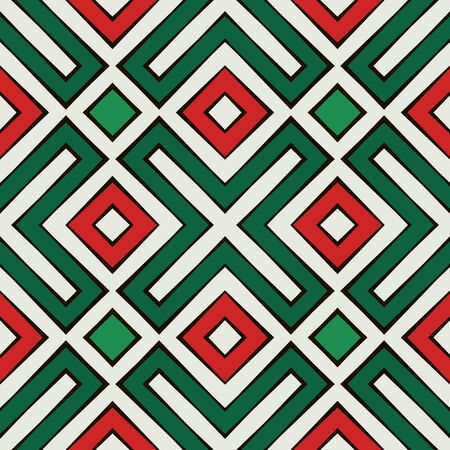 Seamless pattern in Christmas traditional colors. Ethnic and tribal motif. Repeated geometric forms. Colorful ornamental background. Digital paper, textile print, page fill. Vector illustration. Illustration
