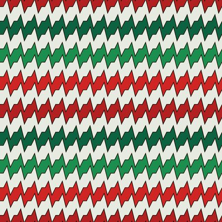 Seamless pattern with horizontal jagged lines in Christmas traditional colors. Repeated sharp edges stripes motif. Bright waves abstract background. Digital paper, textile print. Vector illustration.