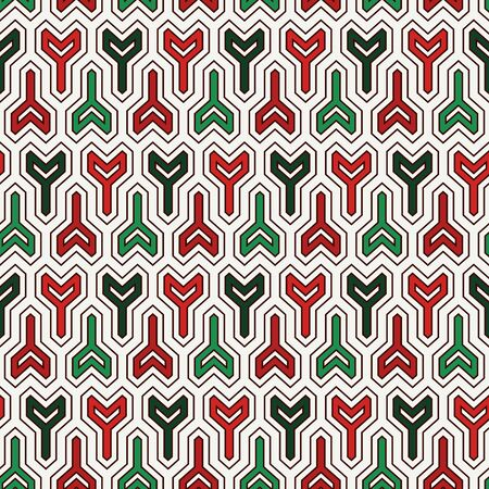 Seamless pattern in Christmas traditional colors with arrows motif. Repeated winder keys. Simple modern print with pointers. Scrapbook digital paper, textile print, page fill. Vector art