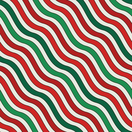 Christmas traditional colors diagonal wavy stripes seamless pattern. Repeated lines wallpaper. Abstract background with classic ornament. Digital paper, textile print, page fill. Vector illustration Stock Illustratie