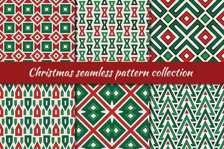 Christmas seamless pattern collection. Holiday backgrounds set. Print kit in traditional colors. Bright mosaic tile, ethnic, tribal motif geometric ornaments. Vector scrapbook digital paper