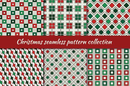 Christmas seamless pattern collection. Holiday backgrounds set. Print kit in traditional colors. Repeated rhombuses, squares,diamonds motif geometric ornaments. Vector scrapbook digital paper