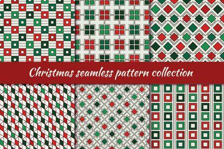 Weihnachten nahtlose Mustersammlung. Feiertagshintergründe eingestellt. Druckset in traditionellen Farben. Wiederholte Rauten, Quadrate, Diamantenmotiv geometrische Ornamente. Vektor-Einklebebuch digitales Papier