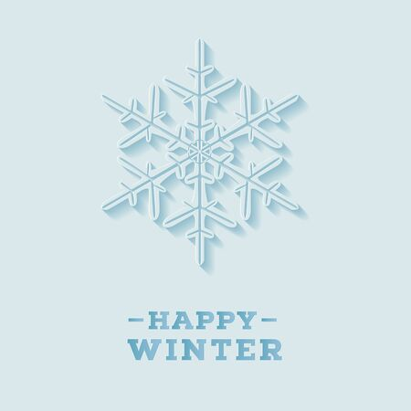 Happy winter greeting card with lettering composition. Carved paper style. Vector illustration