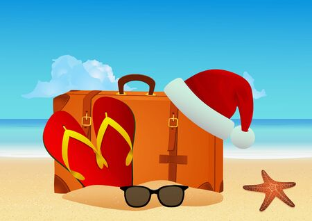 Christmas beach background. Winter holiday vacation concept. Vector illustration