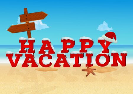 Happy vacation inscription in 3d style with santa hat on beach background. Winter and Christmas holiday travel concept. Vector illustration