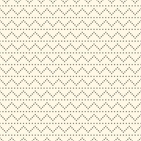 Polka dot seamless pattern. Repeated dotted zigzag stripes texture. Round spots motif. Mini circles abstract wallpaper. Simple minimalist geometric background. Vector digital paper, textile print Ilustração