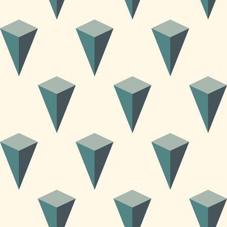 Nahtloses Muster mit geometrischer Verzierung. Isometrische Inseln Tapete. Motiv der umgekehrten Pyramiden. Wiederholte 3D-Figuren abstrakten Hintergrund. Digitales Papier im modernen Stil, Textildruck, Seitenfüllung. Vektor Vektorgrafik