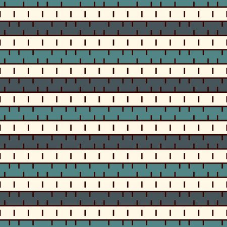 Patrón de superficie transparente con trazos. Líneas horizontales rotas. Motivo de guiones. Repetidos bloques de rectángulo. Adorno geométrico simple. Fondo rayado. Fondo abstracto moderno con puntos de sutura. Vector