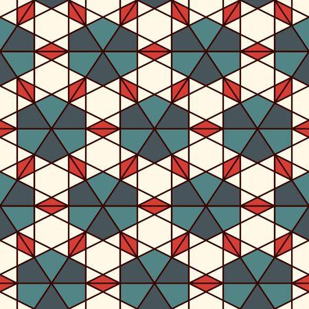 Patrón de mosaico. Adorno de caleiposcopio. Figuras geométricas repetidas, motivo de estrellas. Diseño de superficie sin costuras. Papel pintado étnico. Fondo abstracto de geo. Papel digital, estampado textil. Arte vectorial