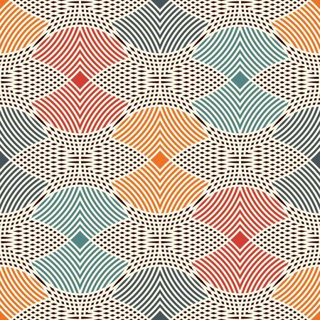 Patrón sin fisuras con círculos superpuestos rayados repetidos. Textura superficial calada. Motivo de eslabones redondos. Fondo abstracto geométrico. Papel digital delicado, impresión textil, relleno de página. Arte vectorial