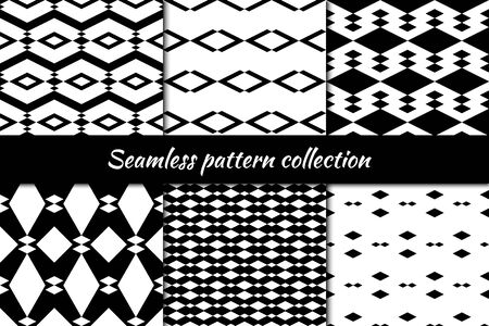 Seamless pattern collection. Geometrical design backgrounds set. Repeated rhombuses, diamonds, lozenges motif. Geo print kit. Ethnic ornaments. Vector scrapbook digital paper, abstract wallpaper