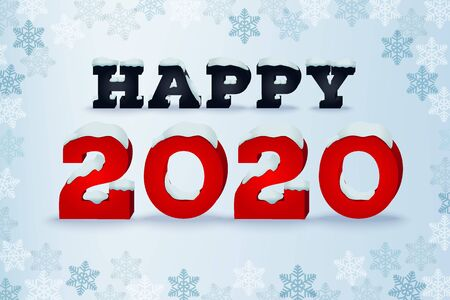 Happy 2020 year holiday greeting card. Winter style typography phrase. Typographic design template with snow cap text effect. Inscription on blue blured background with snowflakes. Vector illustration