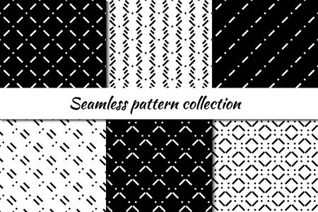 Seamless pattern collection. Geometrical design backgrounds set. Minimal geo print kit. Modern linear ornaments. Repeated mini lines, dashes motif. Vector scrapbook digital paper, abstract wallpaper
