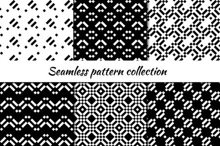 Seamless pattern collection. Geometrical design backgrounds set. Repeated dotted lines, mini squares motif. Geo checks print kit. Ethnic ornaments. Vector scrapbook digital paper, abstract wallpaper
