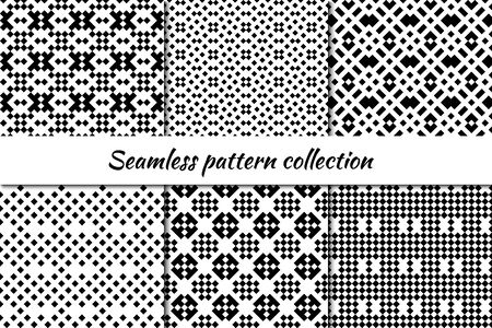 Seamless pattern collection. Geometrical design backgrounds set. Cross stitch eclectic embroidery style ornaments. Geo print kit. Ethnic motif. Vector scrapbook digital paper, abstract wallpaper