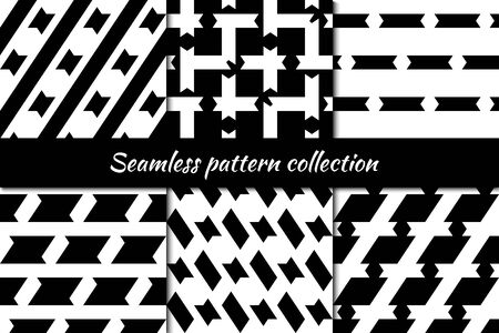 Seamless patterns collection. Figures backgrounds set. Shapes, forms ornaments. Polygons kit. Ethnic motif. Digital paper, textile print, web design, abstract wallpaper, Vectors bundle. Ilustracja