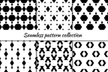Seamless patterns collection. Rhombuses, triangles, hexagons, figures backgrounds set. Simple shapes ornaments. Folk backdrops kit. Ethnic motif. Digital paper, textile print, abstract Vectors bundle